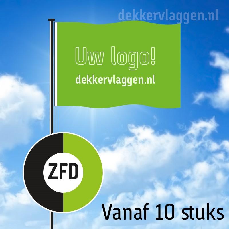 Vlaggen zeefdruk - >10 stuks - 15 werkdagen - 100% doordruk - max 4 kleuren