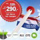 Aanbieding aluminium vlaggenmast 6 meter Ø70mm met overschuifkoker (optioneel kantelanker) inclusief NL vlag en oranje wimpel en inclusief transport. Nu met gratis NL wimpel!
