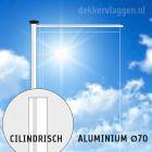 Aluminium baniermast met roterende uithouder 6 of 7 meter Ø 70mm (optioneel hijsbaar)