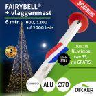 Fairybell 6 meter (900, 1200 of 2000 leds) met Aluminium Vlaggenmast 6 meter Ø70mm - met gratis wimpel