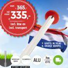 Aanbieding aluminium vlaggenmast 7 meter Ø70mm met overschuifkoker inclusief NL vlag en oranje wimpel en inclusief transport. Nu met gratis NL wimpel!