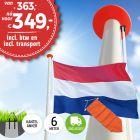 Aanbieding polyester vlaggenmast 6 meter inclusief NL vlag en oranje wimpel en inclusief transport. Nu met gratis NL wimpel!