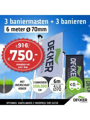 Aanbieding set van 3 aluminium baniermasten 6m Ø70mm met overschuifkoker en 3x banier 100x300cm