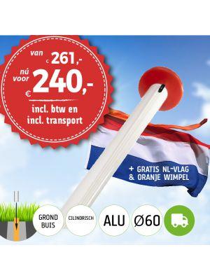Aanbieding aluminium vlaggenmast 6 meter Ø60mm met grondbuis inclusief NL vlag en oranje wimpel en inclusief transport