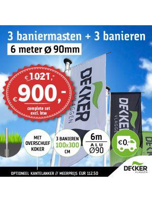Aanbieding set van 3 aluminium baniermasten 6m Ø90mm met overschuifkoker en 3x banier 100x300cm