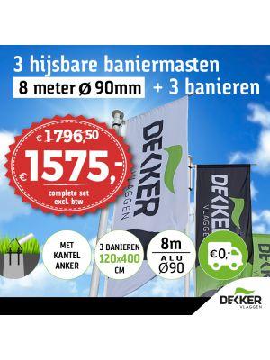 Aanbieding set van 3 hijsbare aluminium baniermasten 8m Ø90mm met kantelanker en 3x banier 120x400cm