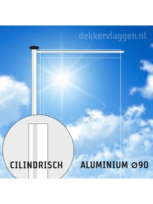 Aluminium baniermast met roterende uithouder 9 meter Ø 90mm (optioneel hijsbaar)