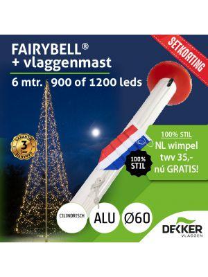 Fairybell 6 meter (900 of 1200 leds) met Aluminium Vlaggenmast 6 meter Ø60mm - met gratis wimpel