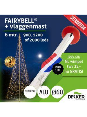 Fairybell 6 meter (900, 1200 of 2000 leds) met Aluminium Vlaggenmast 6 meter Ø60mm - met gratis wimpel en setkorting!