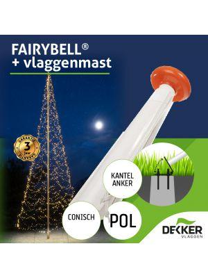Polyester vlaggenmast 10 meter met Fairybell 2000 of 4000 leds