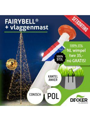 Fairybell 8 meter 1500 leds met Polyester Vlaggenmast 8 meter - met gratis wimpel