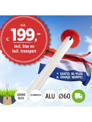 Aanbieding: aluminium vlaggenmast 6 of 7 meter Ø 60mm