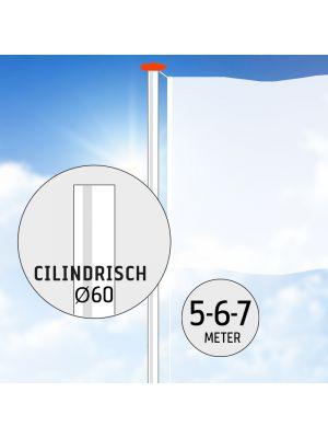 Aluminium vlaggenmast 5, 6 of 7 meter Ø 60mm