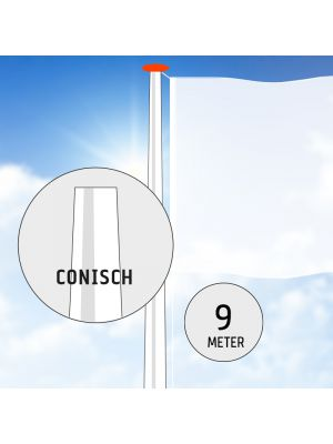 Aluminium vlaggenmast 9 meter conisch