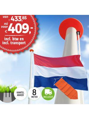 Aanbieding polyester vlaggenmast 8 meter inclusief NL vlag en oranje wimpel en inclusief transport.