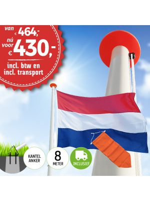 Aanbieding polyester vlaggenmast 8 meter inclusief NL vlag en oranje wimpel en inclusief transport. Nu met gratis NL wimpel!
