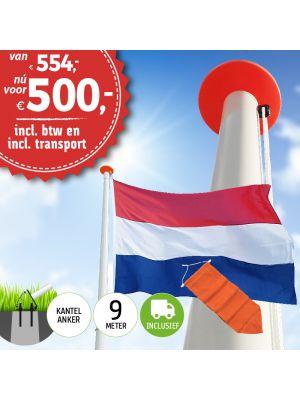 Aanbieding polyester vlaggenmast 9 meter inclusief NL vlag en oranje wimpel en inclusief transport. Nu met gratis NL wimpel!