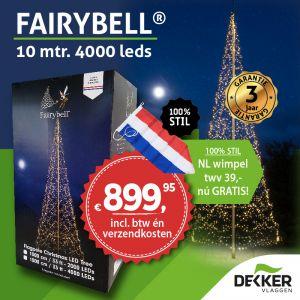 Fairybell 10 meter 4000 Led warm white - met gratis wimpel