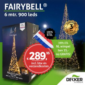 Fairybell 6 meter 900 leds warm white: gratis wimpel