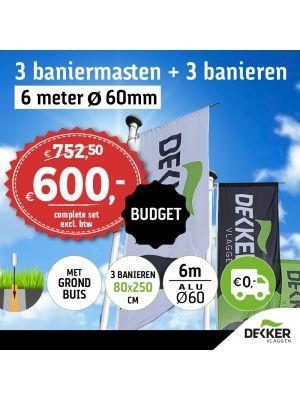 Aanbieding set van 3 aluminium baniermasten 6m Ø60mm met grondbuis en 3x banier 80x250cm