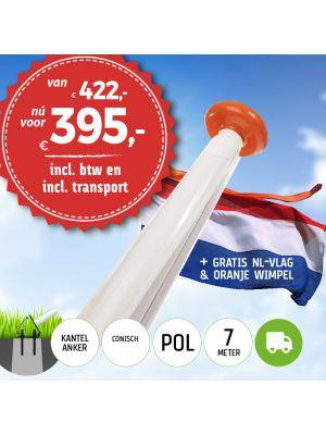 Aanbieding polyester vlaggenmast 7 meter inclusief NL vlag en oranje wimpel en inclusief transport.