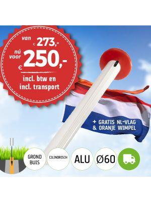 Aanbieding aluminium vlaggenmast 6 meter Ø60mm met grondbuis inclusief NL vlag en oranje wimpel en inclusief transport. Nu met gratis NL wimpel!