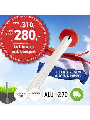 Aanbieding aluminium vlaggenmast 6 meter Ø70mm met overschuifkoker (optioneel kantelanker) inclusief NL vlag en oranje wimpel en inclusief transport
