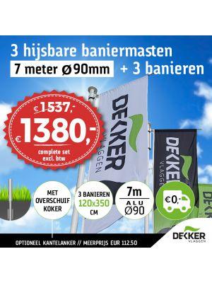 Aanbieding set van 3 hijsbare aluminium baniermasten 7m Ø90mm met overschuifkoker (optioneel kantelanker) en 3x banier 120x350cm