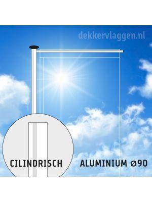 Aluminium baniermast met roterende uithouder 6 of 7 meter Ø 90mm (optioneel hijsbaar)