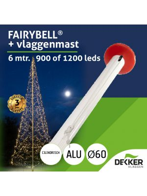 Aluminium vlaggenmast 6 meter Ø 60mm met Fairybell 900 of 1200 leds