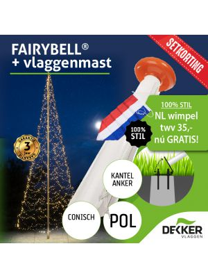 Fairybell 6 meter (900 of 1200 leds) met Polyester Vlaggenmast 6 meter - met gratis wimpel