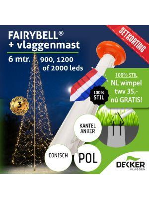 Fairybell 6 meter (900, 1200 of 2000 leds) met Polyester Vlaggenmast 6 meter - met gratis wimpel en setkorting!