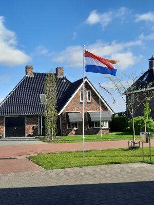 Aluminium 5-delige mast met NL vlag en oranje wimpel complete set (5.7 meter boven maaiveld)
