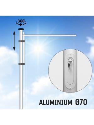 Hijsbare aluminium baniermast met roterende uithouder 6 of 7 meter Ø 70mm