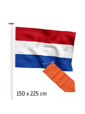 Actieset geschikt voor een 6 meter mast: Nederlandse vlag (standaard- of marineblauw) 150x225cm en oranje wimpel 250cm