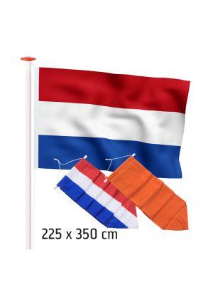 Aanbiedingset geschikt voor een 9 of 10 meter mast: Nederlandse vlag (standaard- of marineblauw), Nederlandse wimpel naar keuze en oranje wimpel