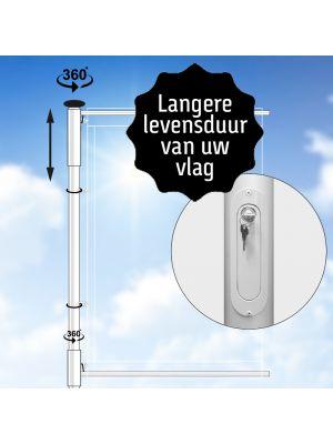 Hijsbare aluminium baniermast met dubbele roterende uithouder 9 meter Ø 90mm