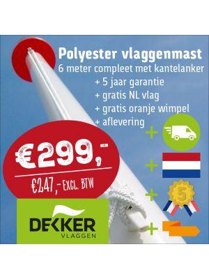 Aanbieding polyester vlaggenmast 6 of 7 meter
