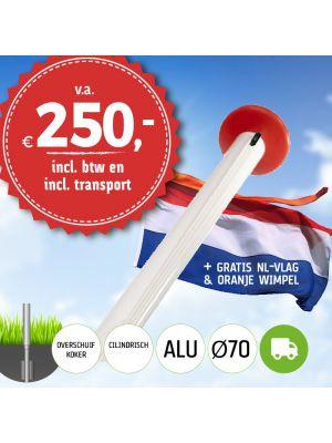 Aanbieding aluminium vlaggenmast 6 of 7 meter Ø70mm