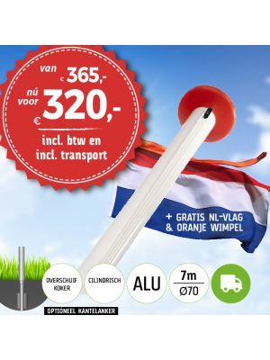 Aanbieding aluminium vlaggenmast 7 meter Ø70mm met overschuifkoker inclusief NL vlag en oranje wimpel en inclusief transport
