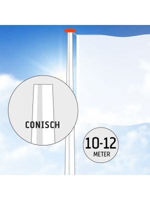 Polyester vlaggenmast 10 of 12 meter conisch