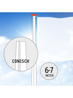 Polyester vlaggenmast 6 of 7 meter conisch