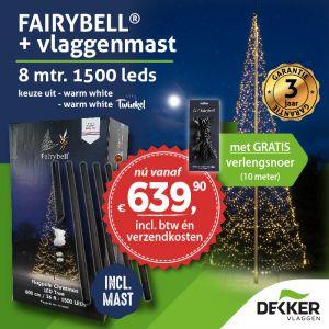 Fairybell 8 meter 1500 led inclusief Fairybell deelmast: gratis verlengsnoer en gratis verzending!