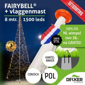 Fairybell 8 meter 1500 leds met Polyester Vlaggenmast 8 meter - met gratis wimpel en setkorting!