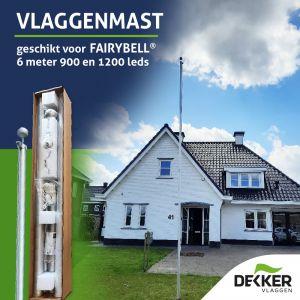 Aluminium 5-delige mast (5.7 meter boven maaiveld) (geschikt voor Fairybell 6 meter 900 of 1200 leds)